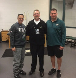 Dr. Pete Delucca, Team Physician, Paul Woelkers, and Chris Peduzzi, Head Athletic Trainer